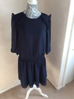 Label Lab Ladies Size Uk 14 Ruffle drop elasticated hem dress navy  long sleeved