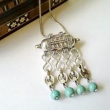 Collar étnicoTurquesa amuleto plata colgante turquesas boho joyería étnica gypsy