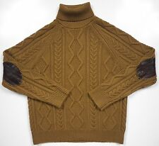 BANANA REPUBLIC MENS LARGE WINTER SWEATER BROWN 100% WOOL LEATHER ELBOW PATCH