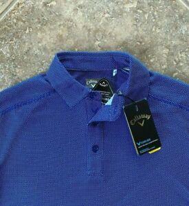 Callaway Opti-Dri Golf Shirt 2XLT Surf the Web Blue Micro Geo UPF 50 NWT $80