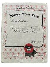 Authentic Mickey Mouse Club Membership Card