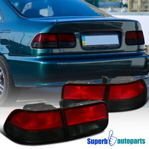 For 1996-2000 Honda Civic 2Dr Coupe Tail Lights Brake Lamps Red/Smoke