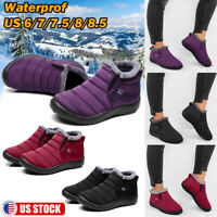 Womens Winter Warm Ankle Snow Boots Fur Lined Water-proof Thicken Flats Shoes