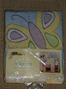 NEW KIDSLINE GINA'S GARDEN VALANCE TAB TOP GINGHAM BUTTERFLY FLOWERS MULTI COLOR