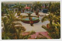 Vintage Postcard California CA US Grant Hotel Palm Court Fountain San Diego