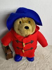 2007 Paddington Teddy Bear Red Coat Blue Boots Hat 15� Plush w/Suitcase (A)