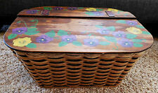 Vintage All WOOD Large Woven PICNIC BASKET Hand Painted PANSIES Flowers Top