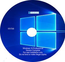 Microsoft Windows 10 Pro 64 bit Installation Disc DVD GENUINE WITH LICENSE KEY