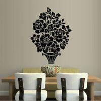Wall Decal Sticker Vinyl Decor Bedroom Flower Rose Pot Plant M913