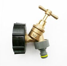 "IBC Tank Cap  with Brass Tap & 1/2"" Snap On Connector, Water Butt, Fuel Storage"