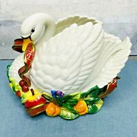 Fitz and Floyd Essentials Large Swan Centerpiece Christmas Thanksgiving Holiday