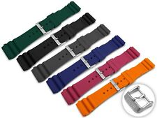For SEIKO Watch Rubber BLACK BLUE ORANGE GREEN RED Strap Band Buckle Clasp 22mm