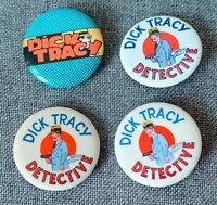 Vintage Dick Tracy Pinback Buttons  Lot Of 4