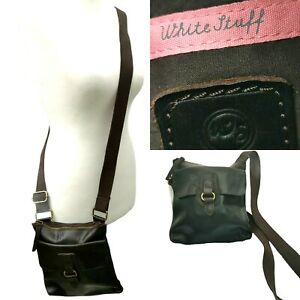 White Stuff leather Vintage Cross Body Bag Brown Womens Buckle Small On the Go