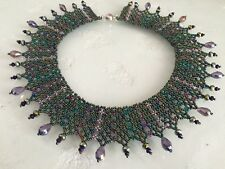 "Czech Glass Iridescent Peacock Colors Beaded Mesh Collar Statement NECKLACE 19"""