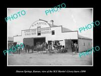 OLD LARGE HISTORIC PHOTO OF SHARON SPRINGS KANSAS, THE HORSE LIVERY BARN c1890