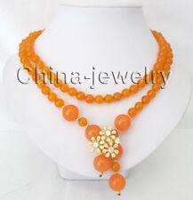 "P7852 - 36"" 8-14mm perfect round orange color jade necklace - GP flower clasp"