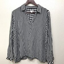 J.Jill Womens Size Large Plaid Buffalo Check Pockets Pullover V-neck Long Sleeve