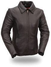 Womens Black Leather Biker Jacket Long Sleeve Motorcycle Zip-out Liner 3X