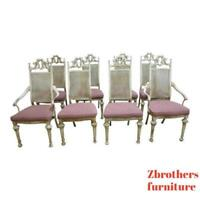 8 Vintage Cast Aluminum French Regency Carved Louis XV Dining Room Chair Set