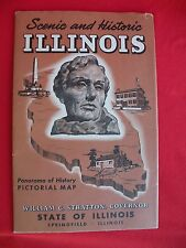 1953 ILLINOIS PICTORIAL MAP Brochure Panorama of History Scenic Historical