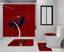 Marvel Spider-Man Bathroom Rugs 4Pcs Shower Curtain Bath Mat Toilet Lid Cover