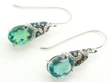 JTV Teal Fluorite & Topaz Rhodium Over Sterling Silver Drop Dangle Earrings