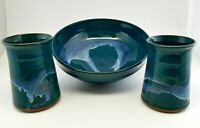 Drip Glaze Teal & Blue Studio Art Pottery Bowl & Vases Handmade and Signed