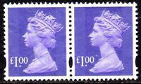 1995 Sg Y1743 £1.00 Bluish Violet (2 Bands) Pair Very Fine Used