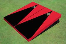 Black And Red Matching Triangle No Stripe Custom Cornhole Board