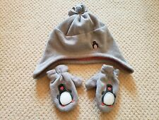 Janie and Jack Orange Gray Fleece Hat Ear Flaps and Mittens 2T - 3T boys girls
