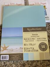 """Recollections Seaside Cardstock Pack 8.5"""" x 11"""" 50 pk New"""