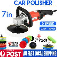 "7''Electric 6 Variable Speed Car Polisher+7"" Polish Sponge Waxing Buffing Pad AU"