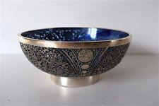Bowl Cut Solid Silver and Glass China Indochina Chinese Sylver Asia