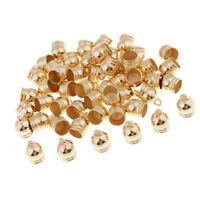 50pcs Gold End Caps Bead Stopper Fit 8mm Cord Bracelet Necklace 10x14mm