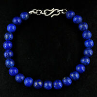 GENUINE 148.80 CTS NATURAL UNTREATED BLUE LAPIS LAZULI ROUND BEADS BRACELET (RS)