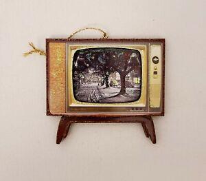 It's a Wonderful Life Bedford Falls Mid Century TV~3DGlitterd Christmas Ornament