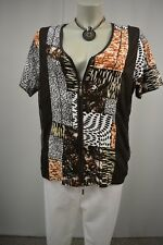 BONITA Sommer  Shirtjacke Jacke Gr. XL 42 Braun-Weiß Muster Kurzarm Stretch TOP