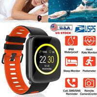 Wireless Heart Rate Smart Watch Wrist IP68 Waterproof Phone Mate Android IOS USA