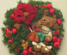 Christmas Holiday Wreath 24 in Animated Talking Teddy Bear 20 LED Battery Lights