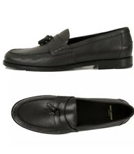 NEW YVES SAINT LAURENT Black Leather CLASSIC TASSEL Universite LOAFERS Size 42
