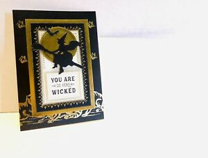 Halloween Handmade OOAK 3D Witch Full Moon Cats Wicked Classic Blank Card