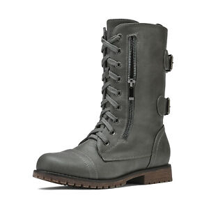 Women's Mid Calf Lace up Boots Military Combat Motorcycle Work Boots with Pocket