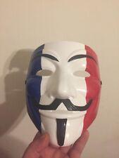 France Flag Anon Custom Guy Fawkes Protest V For Vendetta Anonymous Mask
