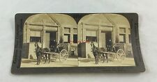 Antique Stereoview Photograph Caleche Horse Carriage Old Quebec City Streets