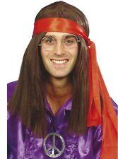 AÑOS 60 1960s 70 1970s Hombre Disfraz de hippie Peluca Kit 4 Piezas por Smiffys