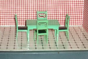 vintage  Renwal dollhouse jadite green table and chairs