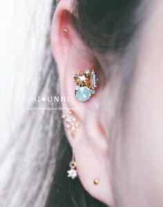 16g Opalite Star cartilage earring helix conch ear stud, 316l steel piercing 1pc