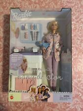 Happy Family Baby Doctor Barbie Doll With Twins Nib 2002 Mattel