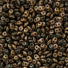 SuperDuo™ Duets™ 5mm Seed Beads Black/White Bronze Luster 13g (M104/6)